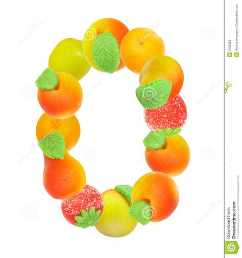 fruit 12 letters alphabet from fruit the letter o stock photography