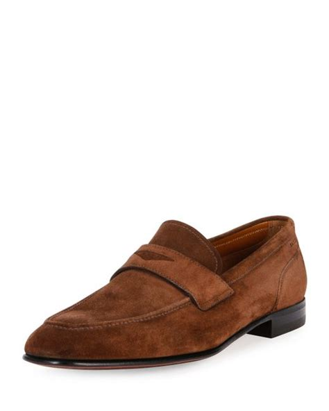 bally suede loafers bally brent suede loafer in brown for lyst