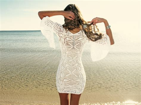 Handmade Crochet Dress - emmaoclothing handmade crochet sleeve dress white