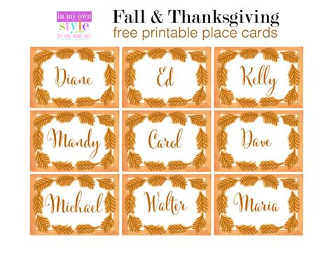 printable fall place cards template 10 minute decorating thanksgiving place cards in my own
