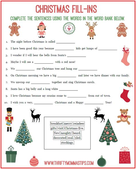printable christmas fill in the blank games free christmas fill ins printable thrifty mommas tips