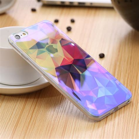 Iphone 6 6s Squishy Si Doel blue light thin soft tpu for iphone 6 6s shining back cover clear protective