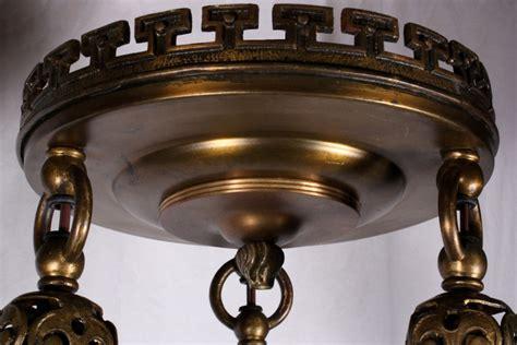 Bronze Light Fixture Four Matching Antique Neoclassical Three Light Flush Mount Light Fixtures Bronze C 1905