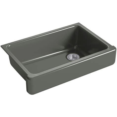 grey kitchen sink kohler whitehaven undermount farmhouse short apron front cast iron 33 in single bowl kitchen