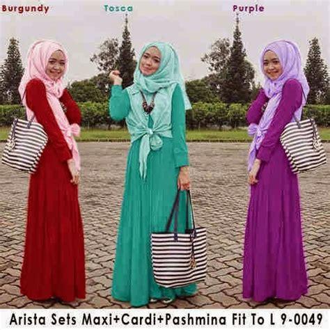 Polky Set Maxi Setelan Muslim Wanita Setelan Outer Polkadot Longvest evfadira shop grosir ecer arista 9 set maxi