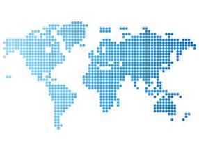 蓝色点阵世界地图矢量素材 设计之家