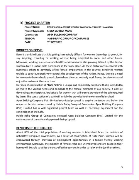 Sle Letter For A Building Project Cafe Construction Project Report