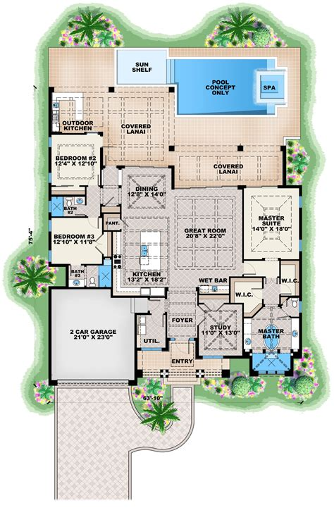 a floor plan contemporary house plan 175 1134 3 bedrm 2684 sq ft