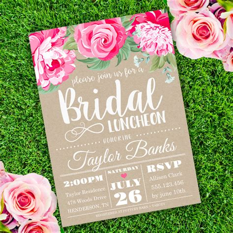 Bridal Luncheon Invitation Template Edit With Adobe Readerparty Printables Wedding Brunch Invitation Templates