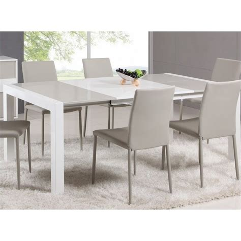 Extendable White Dining Table Chintaly Lacquer Parson Extendable Dining Table In White Grey Dt B T Kit