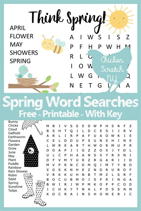 printable area word pdf spring word search