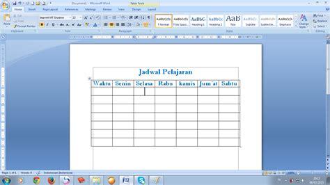 membuat tabel jadwal html cara membuat tabel pada microsoft words 2007 siap belajar