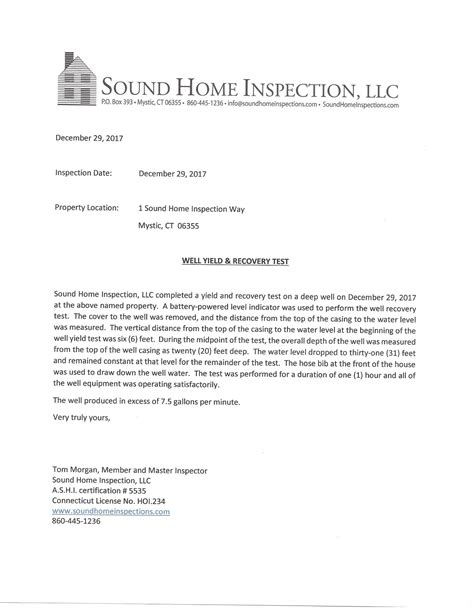 Mortgagee Letter Well And Septic testimonials sound home inspection llc ct and ri