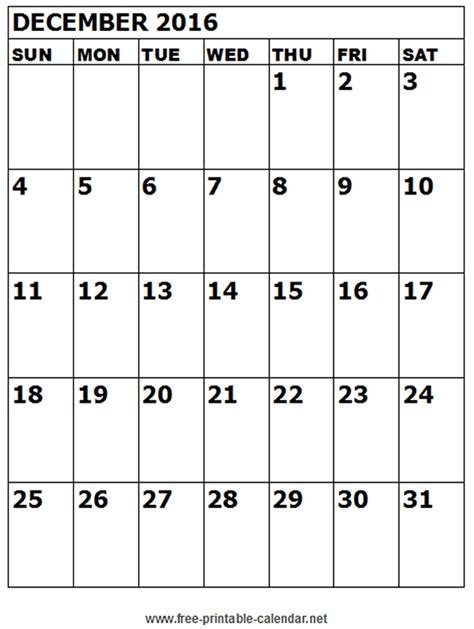 printable calendar december 2016 december 2016 printable calendar templates free