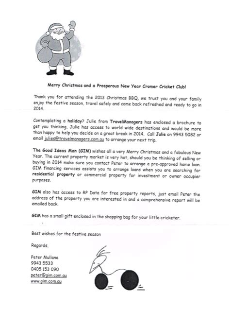 Sponsorship Letter Cricket Club 2013 Annual Wrap Up Cromer Cricket Club