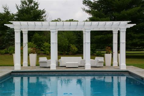 Formal Landscape Design With Swimming Pool Pergola Pool Pergola Designs