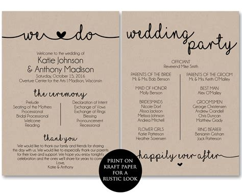 Wedding Program Template by Ceremony Program Template Printable Wedding Programs