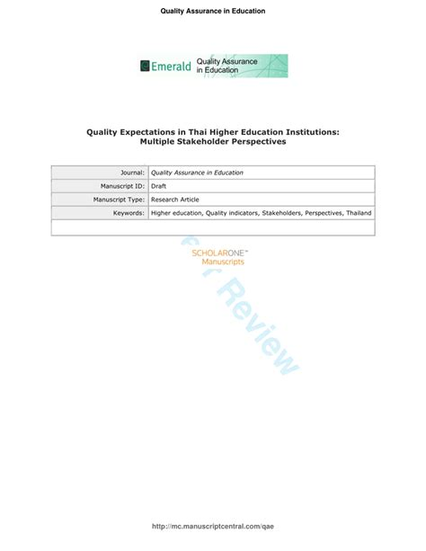 Literature Review Service Quality In Higher Education Institutions In Malaysia by Quality Expectations In Thai Higher Education Institutions Stakeholder Perspectives