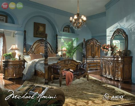michael amini oppulente luxury poster bed carved wood