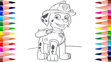 painting coloring painting marshall coloring paw patrol coloring pages