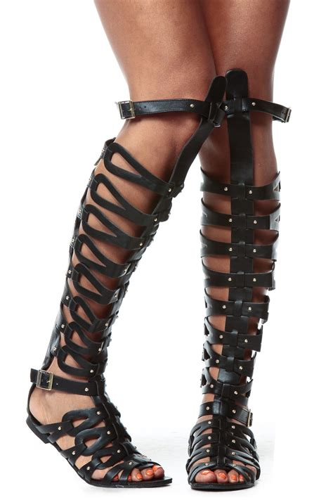 thigh gladiator sandals black faux leather thigh high gladiator sandals cicihot