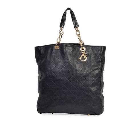christian cannage quilted lambskin leather soft shopping tote bag black luxity