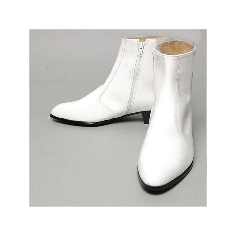 white ankle high heels s inner real leather western glossy white side zip