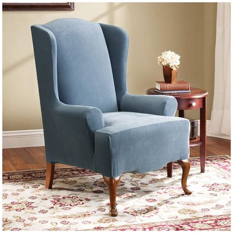 stretch wingback sofa slipcover sure fit 174 stretch pearson wing chair slipcover 292826