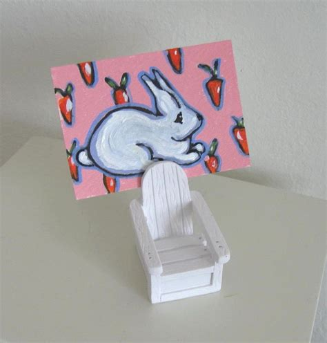 Handmade Place Card Holders - handmade aceo bunny rabbit adirondack chair place card