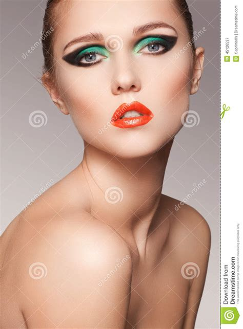 models close up 0752213237 close up beautiful model face with fashion make up stock