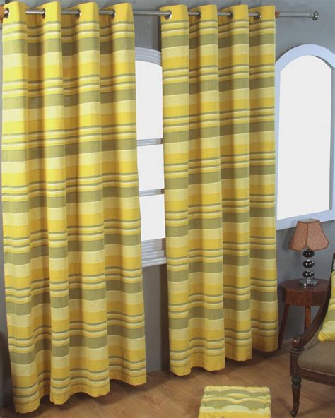 striped yellow curtains cotton morocco striped yellow curtain pair homescapes