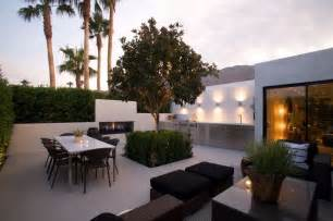 Contemporary patio with fence amp outdoor fireplace in palm