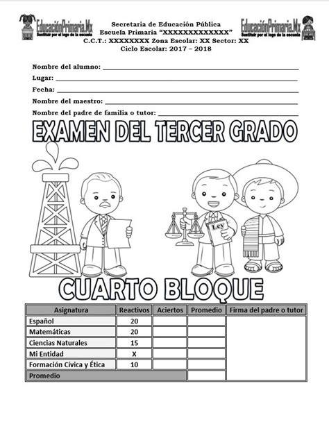 examen del cuarto grado del tercer bloque del ciclo examen del tercer grado del cuarto bloque para el ciclo