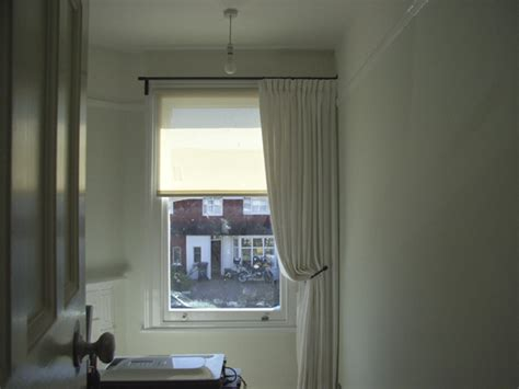 one sided drapes roller blind with single curtain crouch end north london
