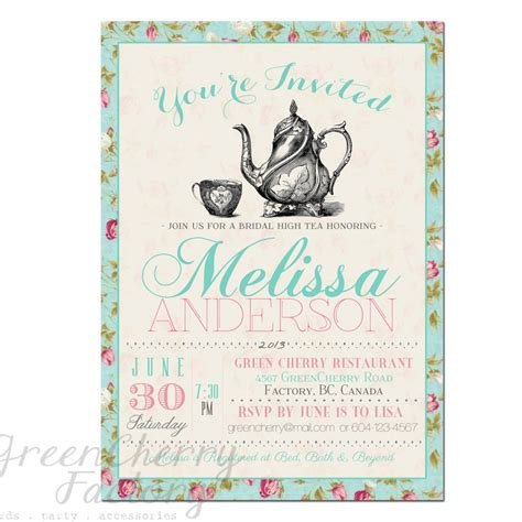 tea party invitation templates to print free printable