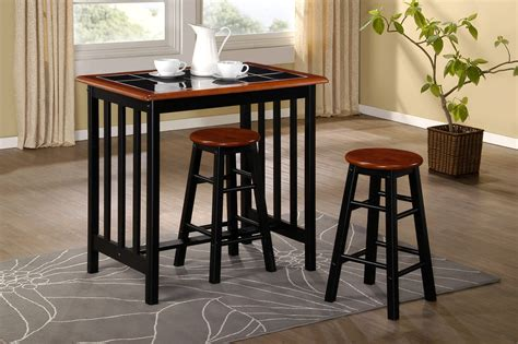 Small Breakfast Bar Table Breakfast Bar Dining Set Kitchen Table And 2 Stools Black Tile Top And Wood Compact Dining