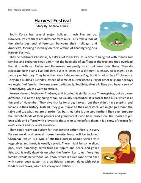 reading comprehension test uk reading comprehension worksheet harvest festival