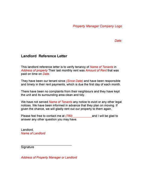 landlord reference letters form samples templatelab