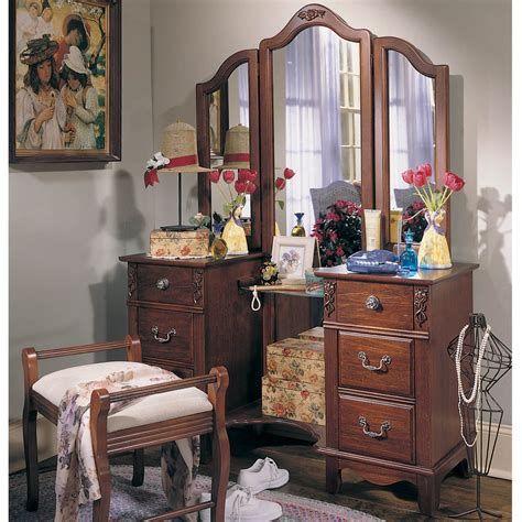 bedroom set with vanity antique treasures bedroom vanity set at hayneedle