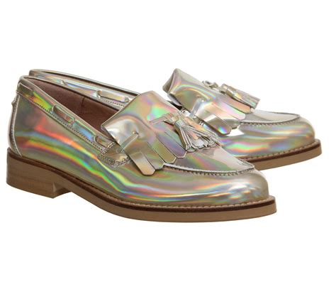 holographic loafers office extravaganza loafers gold holographic flats