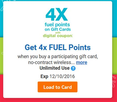 Gift Cards Coupon - 4x fuel points on gift cards at kroger bargains to bounty