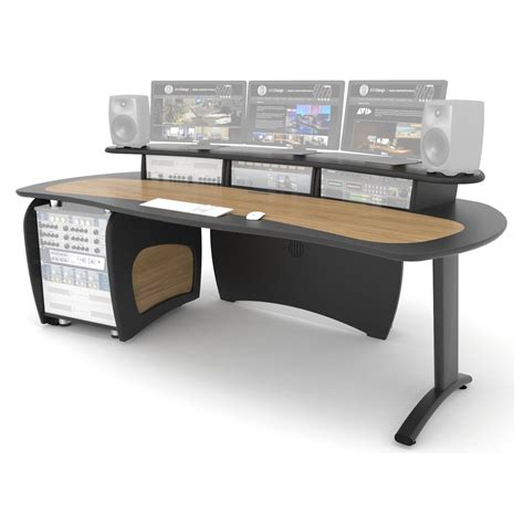 Aka Design Proedit Studio Desk With 12u Rack Grey And Oak Studio Desk Design