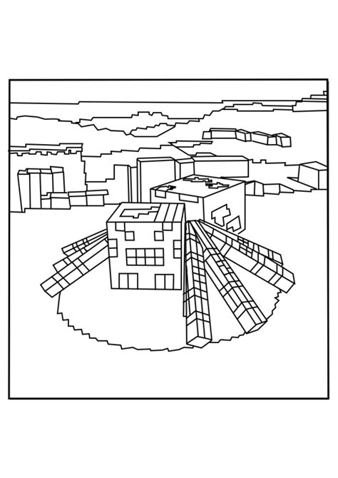 minecraft squid and spider coloring pages for kids to
