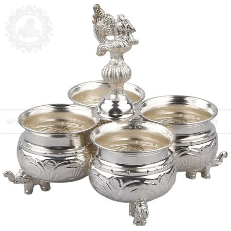 Home Decor Items Online Shopping In India by Nandigifts Com Buy Silver Plated Kumkum Peacock Stand Online