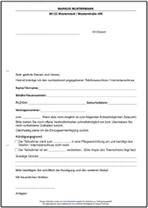 K Ndigen Telefonanschluss Muster verschiedene formulare und vorlagen als gratis