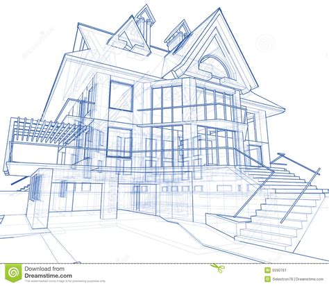 make a blue print house architecture blueprint stock illustration