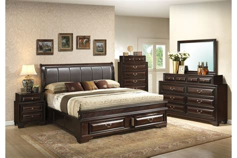King Size Bedroom Set Bedroom Sets Coast Cappuccino King Size Storage Bedroom Set Newlotsfurniture