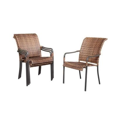 Home Depot Patio Chairs by Manila Bay Woven Patio Stack Chair 4 Pack 133 014 Chr 4p