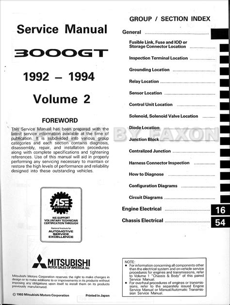 1992 1994 mitsubishi 3000gt original repair shop manual 2 vol set