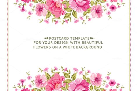 s day flower card template awesome floral cards set card templates on creative market